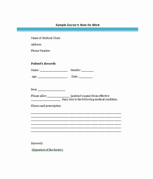 Doctors Note Template for Work Luxury 25 Free Doctor Note Excuse Templates Template Lab
