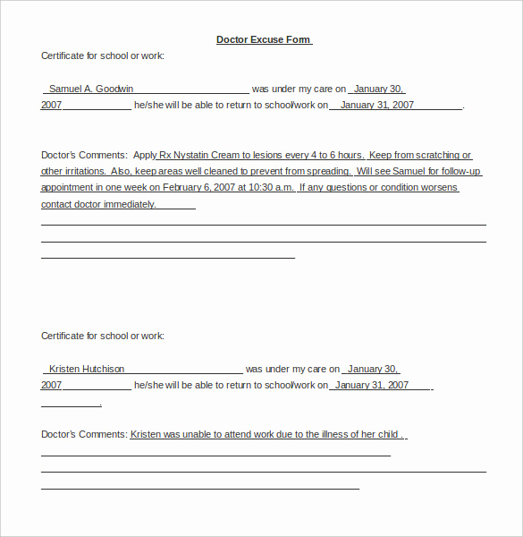 Doctors Notes for Missing Work Lovely 22 Doctors Note Templates Free Sample Example format