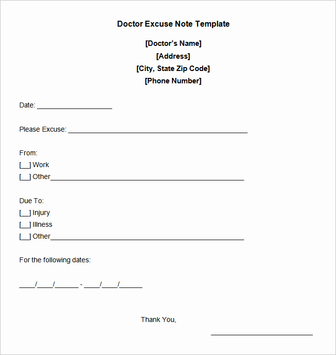 Doctors Notes for Work Fresh 22 Doctors Note Templates Free Sample Example format