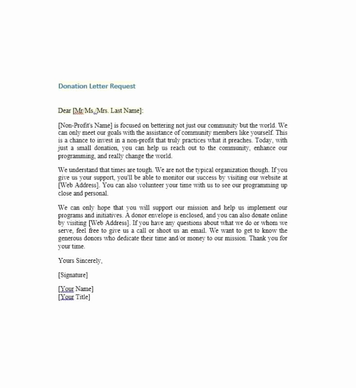 Donation Request Letter Template Elegant Charitable Donation Letter Template