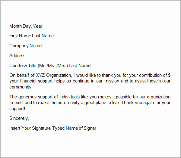 Donation Thank You Letter Template Lovely 10 Thank You Letters for Donation Samples Pdf Doc