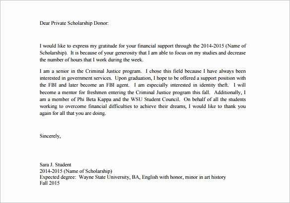 Donor Thank You Letter Elegant 9 Scholarship Thank You Letter Doc Pdf