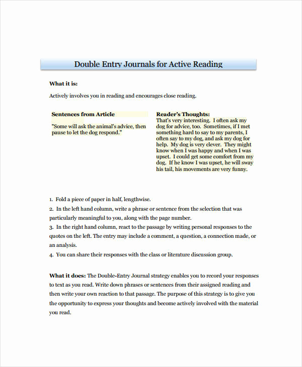 Double Entry Journal Template Luxury 10 Double Entry Journal Templates Pdf Doc