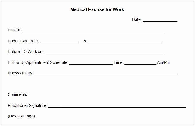 Dr Excuse for Work Elegant Doctors Excuse Template