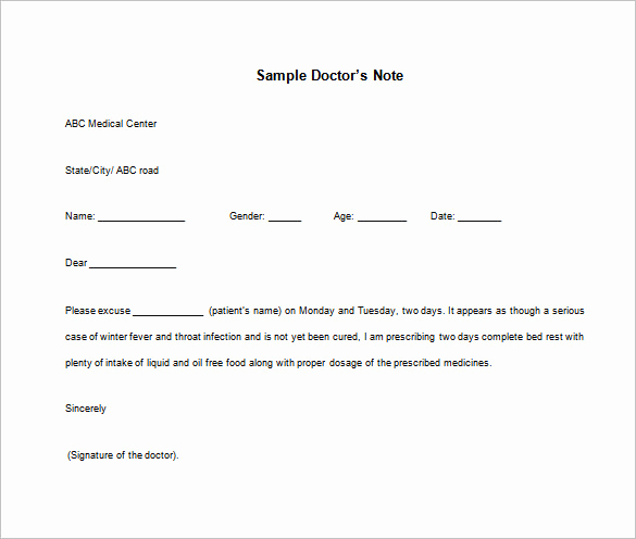 Dr Excuse for Work New 12 Doctor Note Templates for Work Pdf Word Apple
