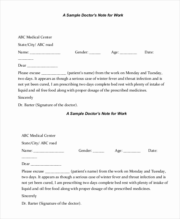 Dr Excuse for Work Unique Sample Doctors Note 8 Examples In Pdf Word