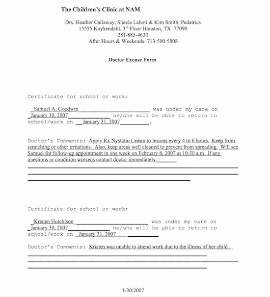 Dr Note for Work Best Of 25 Free Doctor Note Excuse Templates Template Lab