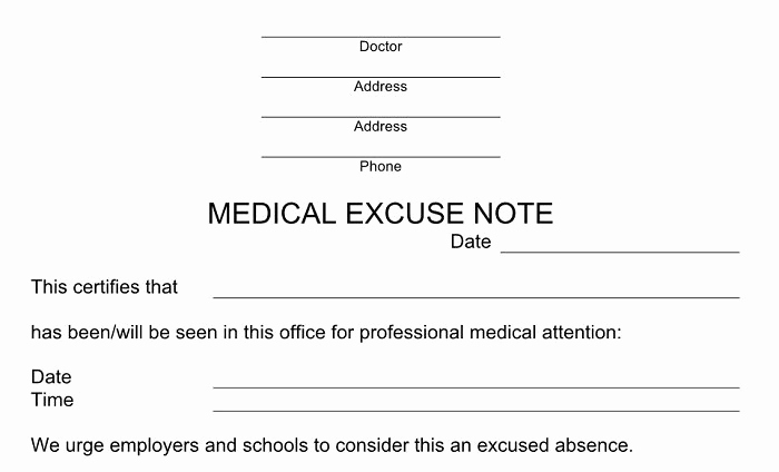 Dr Note for Work Inspirational 27 Free Doctor Note Excuse Templates Free Template