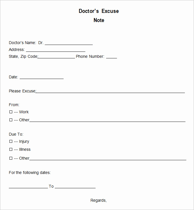 Dr Note for Work Luxury 9 Doctor Excuse Templates Pdf Doc