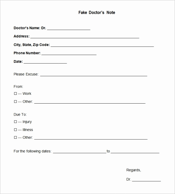 Dr Notes for Work Awesome 22 Doctors Note Templates Free Sample Example format