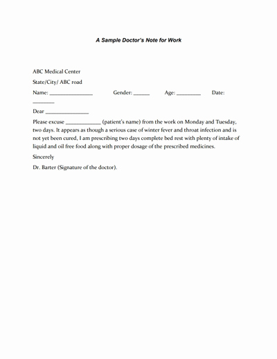 Dr Notes for Work Elegant Doctors Note for Work Template Download Create Fill and