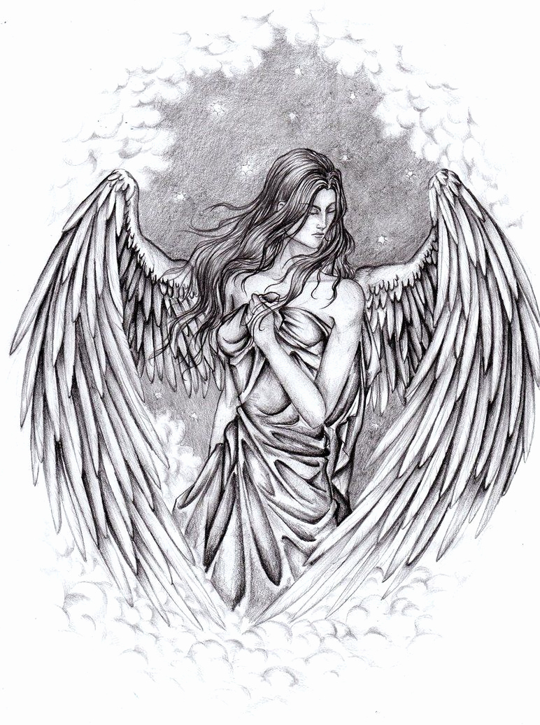 Drawing Of Angels Wings Beautiful Pencil Drawings Of Guardian Angels