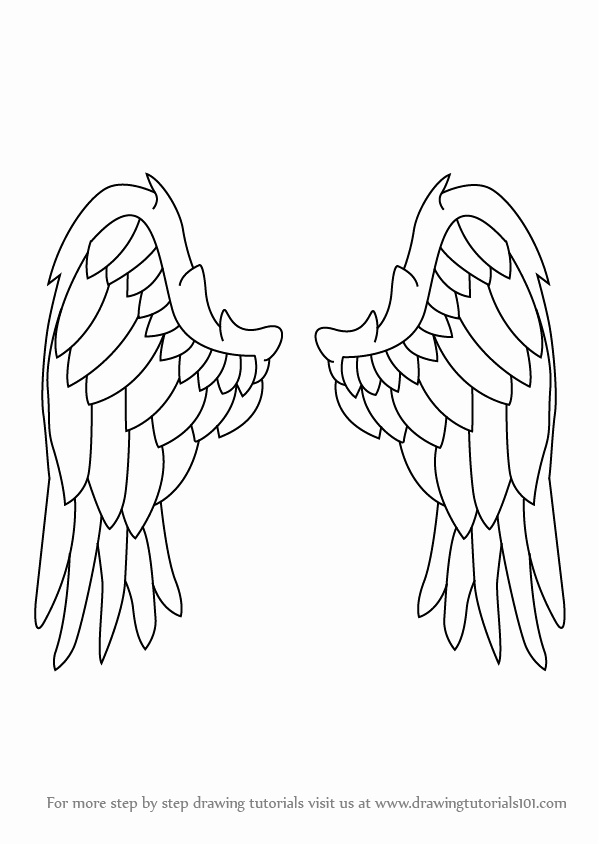 Drawing Of Angels Wings Elegant Learn How to Draw Angel Wings Angels Step by Step