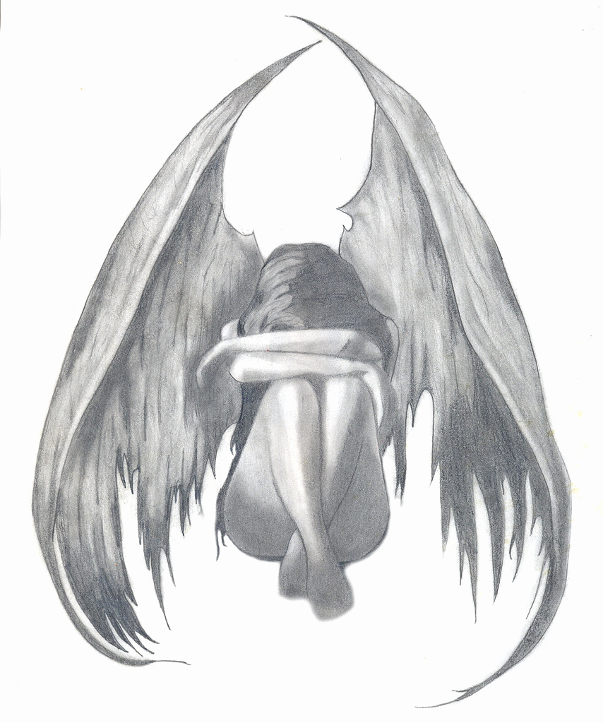 Drawing Of Angels Wings Inspirational Sad Angel