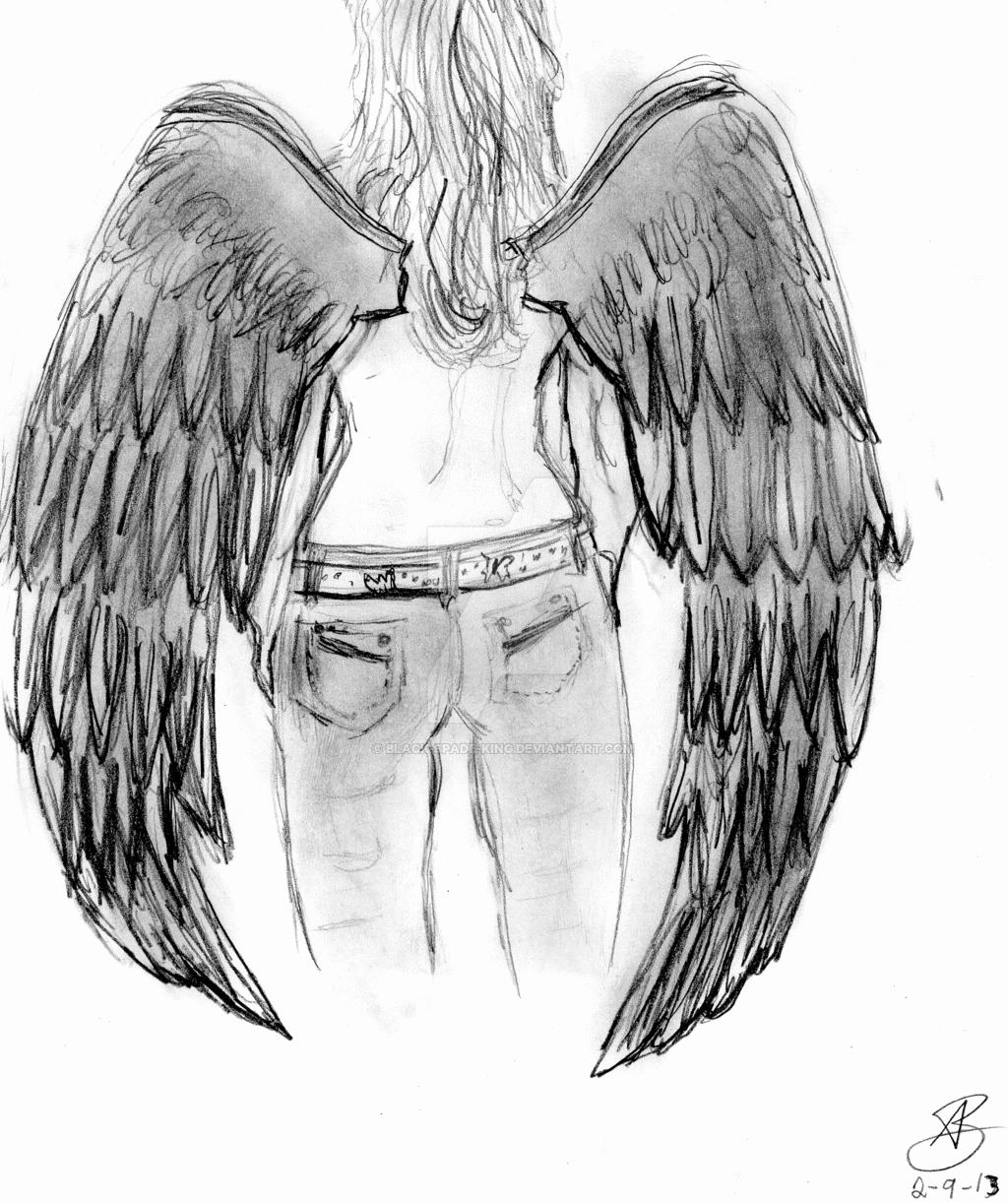 Drawings Of Angels Wings Awesome Drawn Wings Fallen Angel Pencil and In Color Drawn Wings