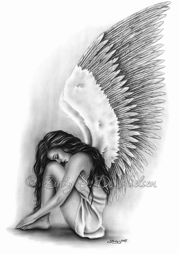 Drawings Of Angels Wings Fresh Angel Wings Heaven Girl Art Print Emo Fantasy Girl Zindy