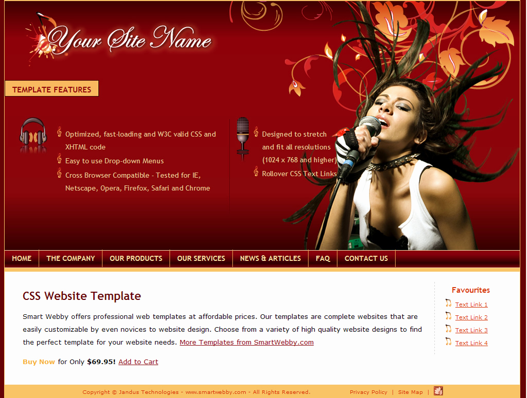 Dream Weaver Web Template New Blazing Maroon Template