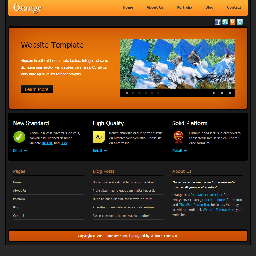Dream Weaver Web Template New orange Free Templates