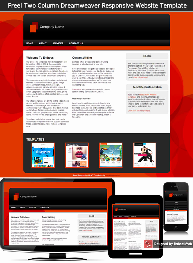Dream Weaver Web Templates Awesome Free HTML5 and Css3 Website Templates
