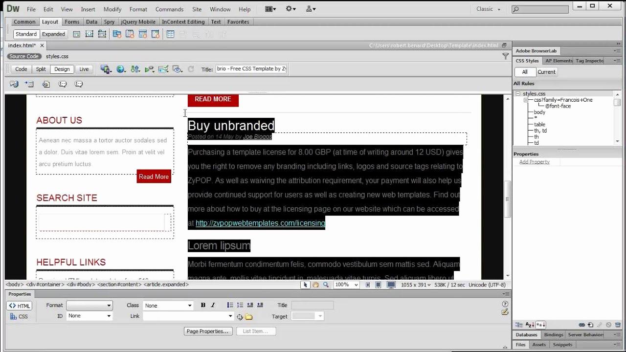 Dream Weaver Web Templates New Free Web Templates with Dreamweaver