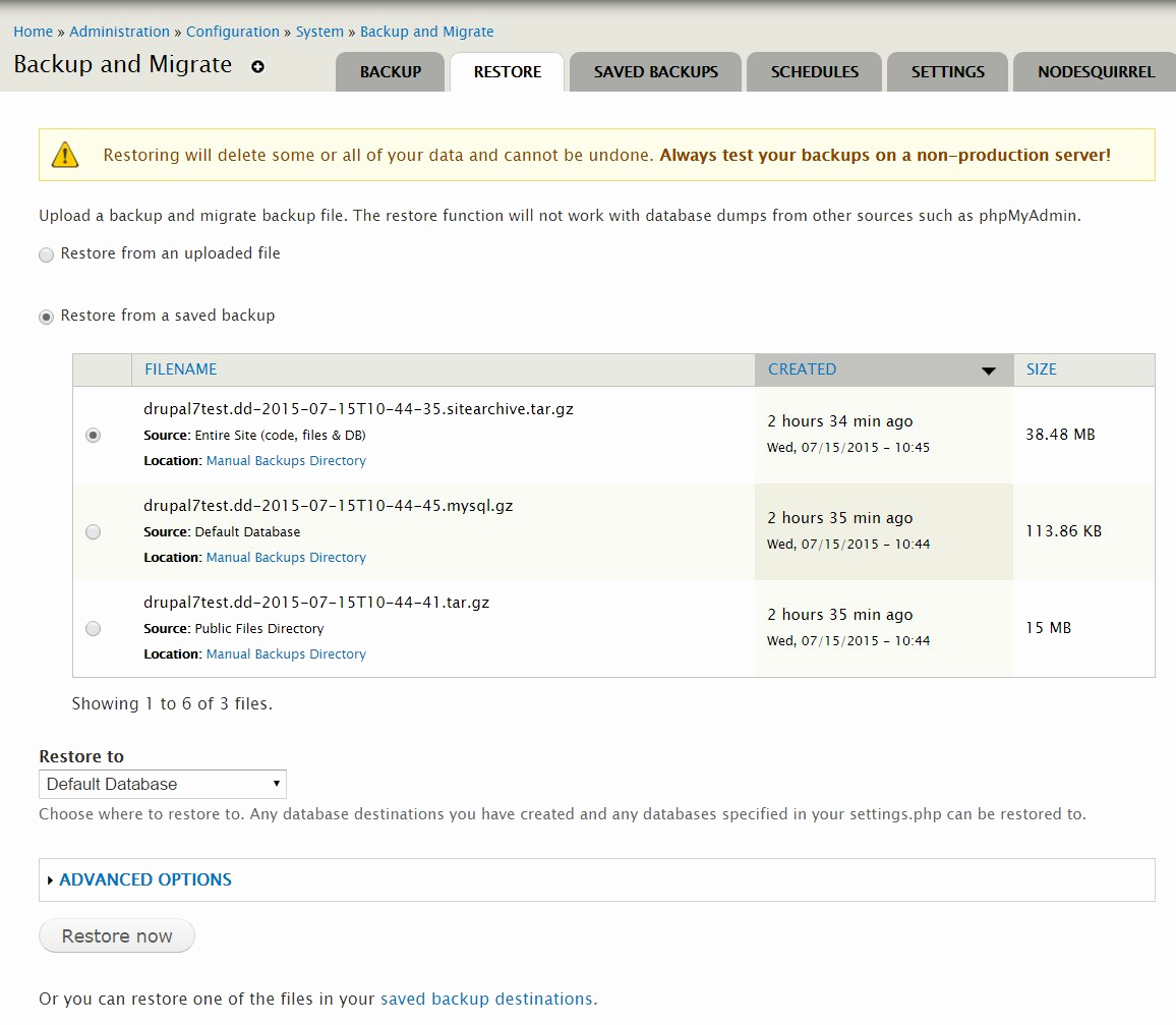 Drupal Backup and Migrate Fresh How to Back Up and Restore A Drupal Website
