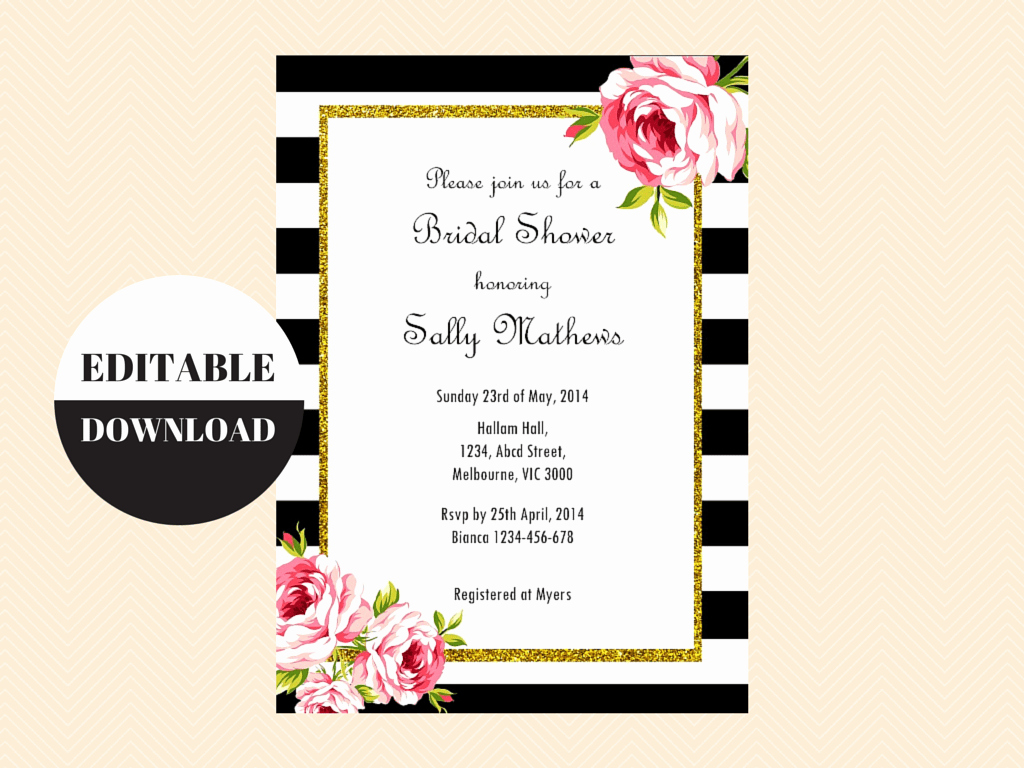Editable Birthday Invitations Templates Free Awesome Black and White Floral Editable Invitation Magical Printable