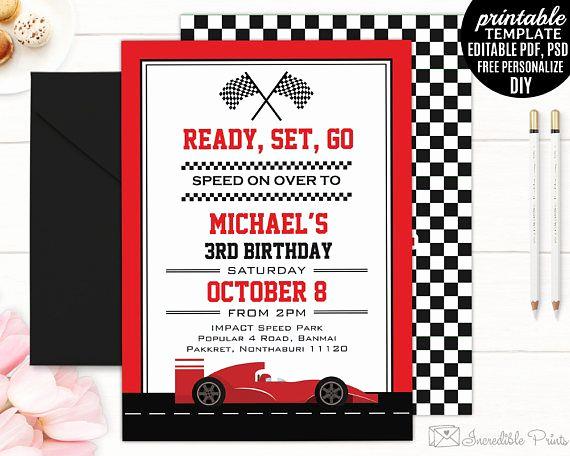 Editable Birthday Invitations Templates Free Awesome Race Car Boy Birthday Invitation Template Boy Birthday