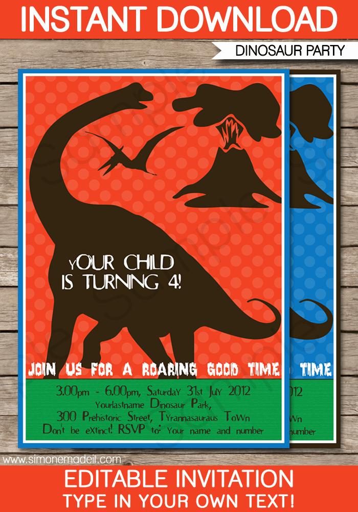 Editable Birthday Invitations Templates Free Best Of Dinosaur Birthday Party Invitations Template