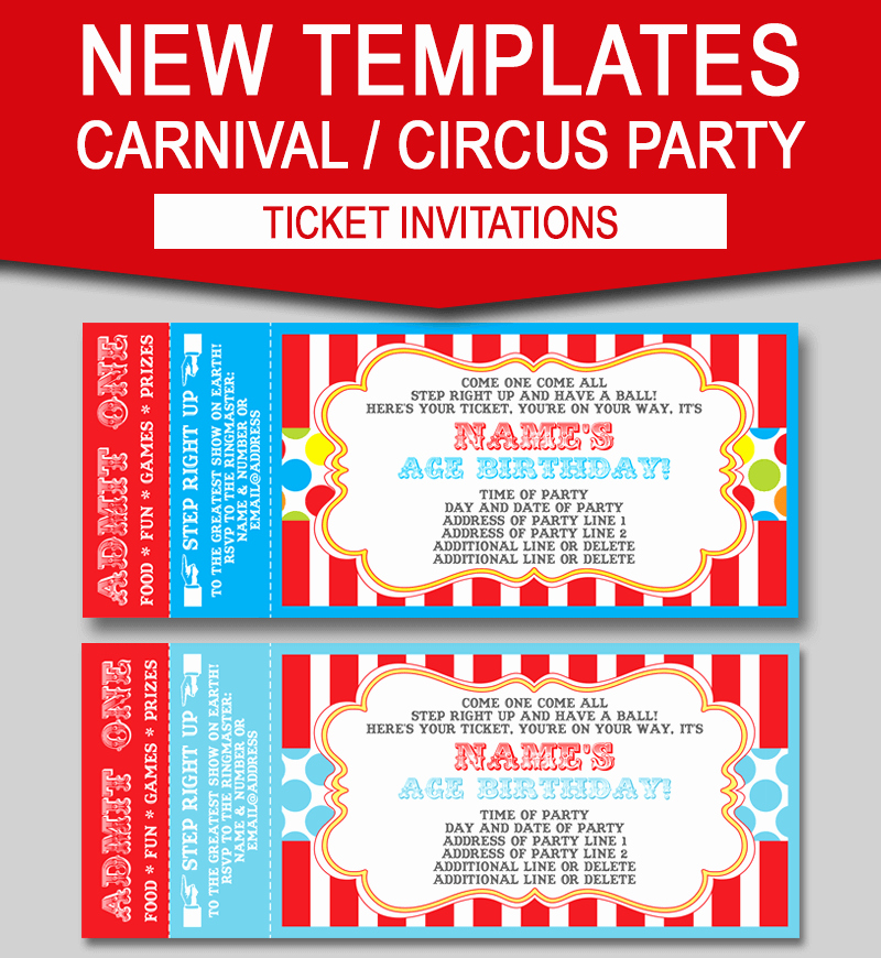 Editable Birthday Invitations Templates Free Best Of Editable Carnival Ticket Invitations
