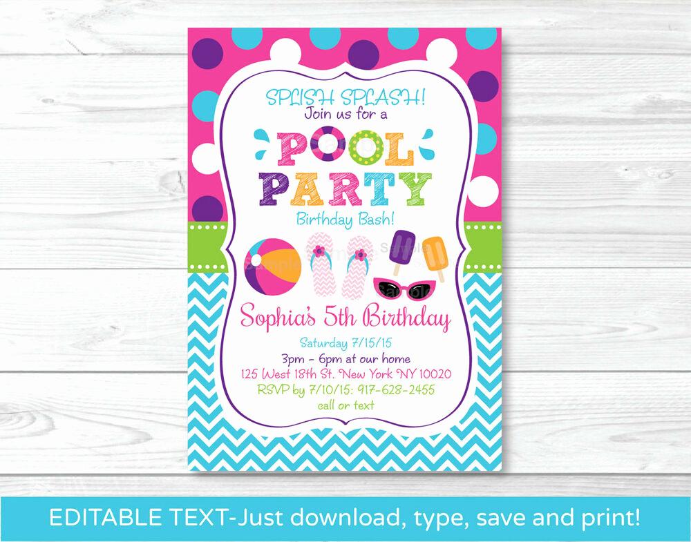 Editable Birthday Invitations Templates Free Best Of Girls Pool Party Printable Birthday Invitation Editable