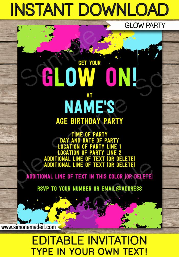 Editable Birthday Invitations Templates Free Elegant Neon Glow Party Invitations Template