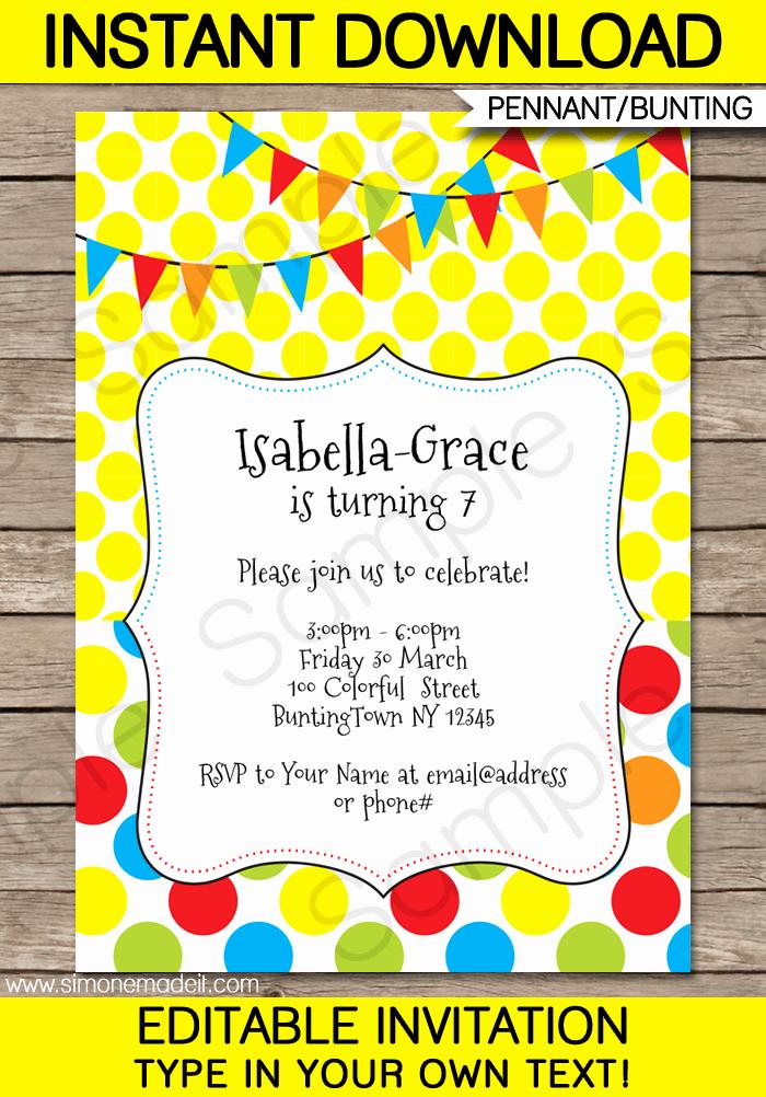Editable Birthday Invitations Templates Free Fresh Colorful Bunting Invitations Template
