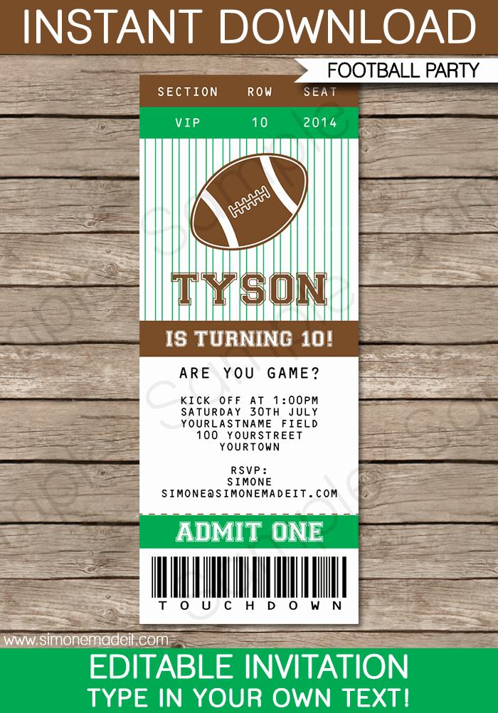 Editable Birthday Invitations Templates Free Inspirational Football Ticket Invitation Template