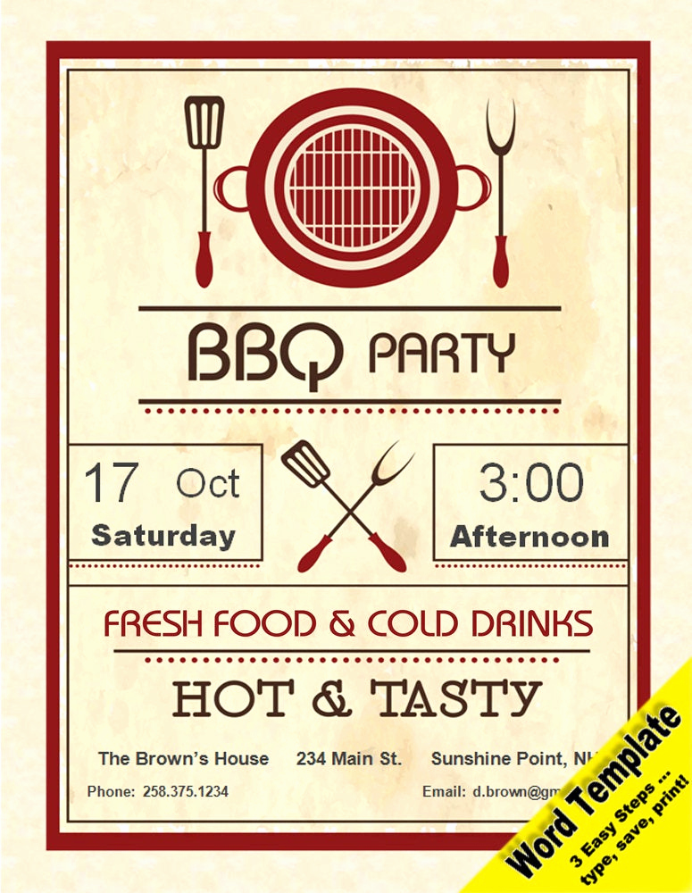 Editable Birthday Invitations Templates Free Lovely Barbecue Party Invitation Editable Word Template Printable