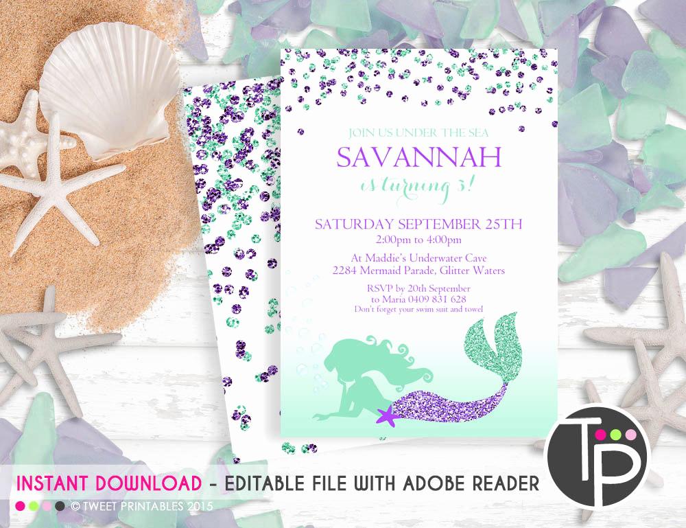 Editable Birthday Invitations Templates Free Unique Mermaid Invitation Instant Mermaid Invitations
