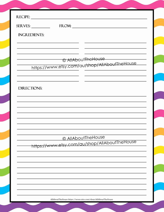 Editable Recipe Card Template Best Of Editable Printable Recipe Card Template Pdf Sheet