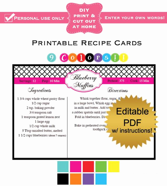 Editable Recipe Card Template Elegant Diy Editable Printable Recipe Cards Pdf Quatrefol In 9 Colors