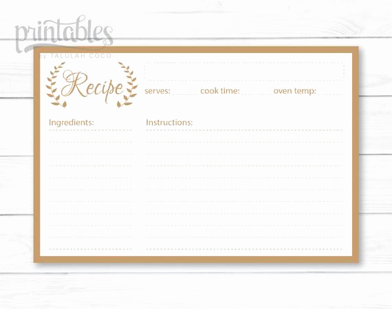 Editable Recipe Card Template Elegant Editable Recipe Cards Kitchen organization Brown Recipe