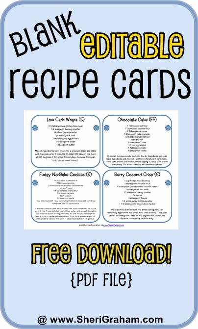 Editable Recipe Card Template Fresh Blank Editable Recipe Cards 1 2 & 4 Card Versions Free