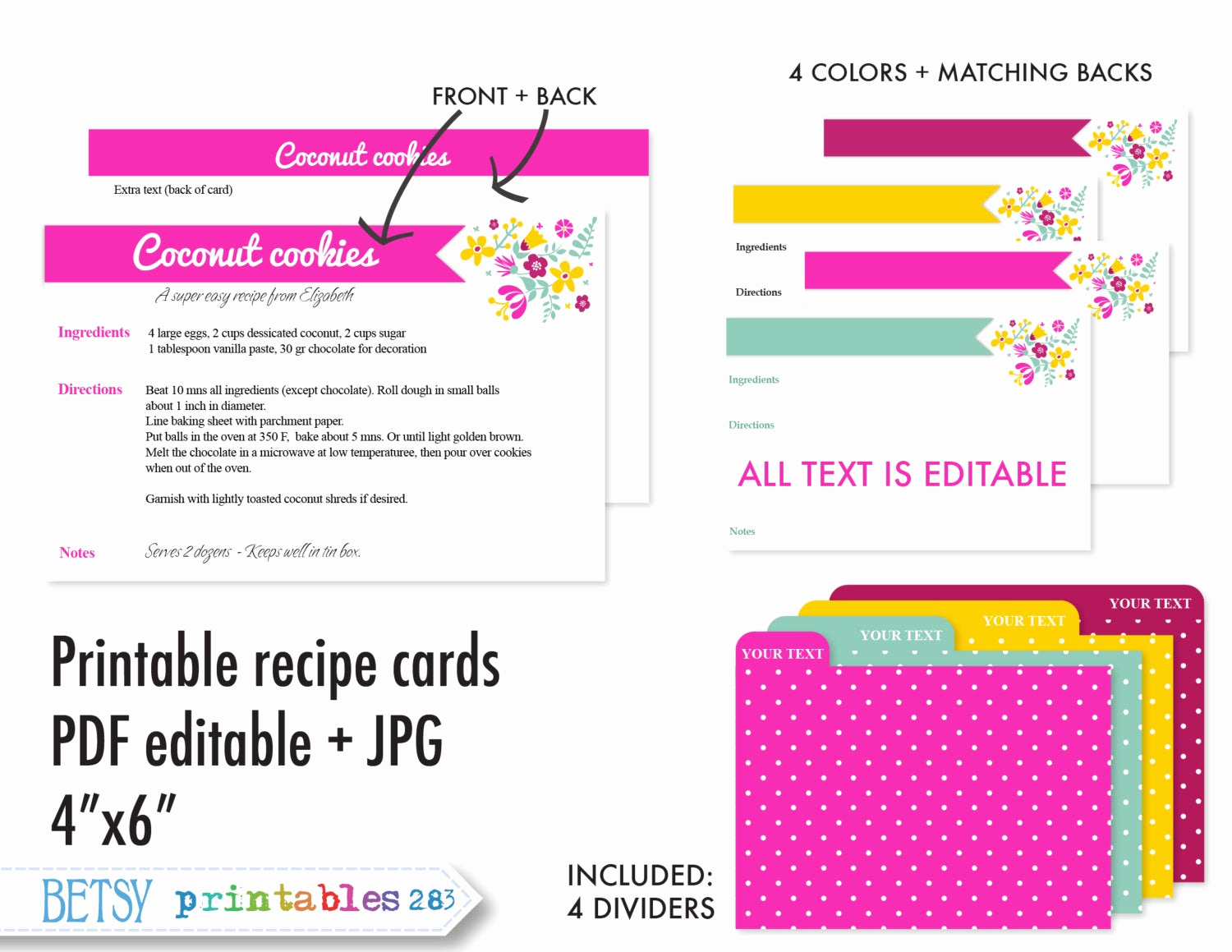 Editable Recipe Card Template Fresh Printable Recipe Cards 4x6 Recipe Cards Recipe Card