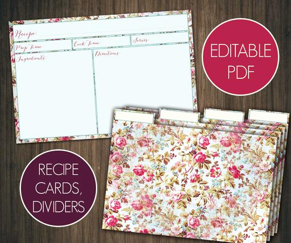 Editable Recipe Card Template Lovely Editable Recipe Cards Divider 4x6 Recipe Cards Printable