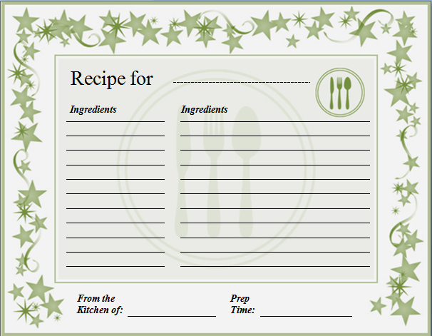 Editable Recipe Card Template Lovely Ms Word Recipe Card Template