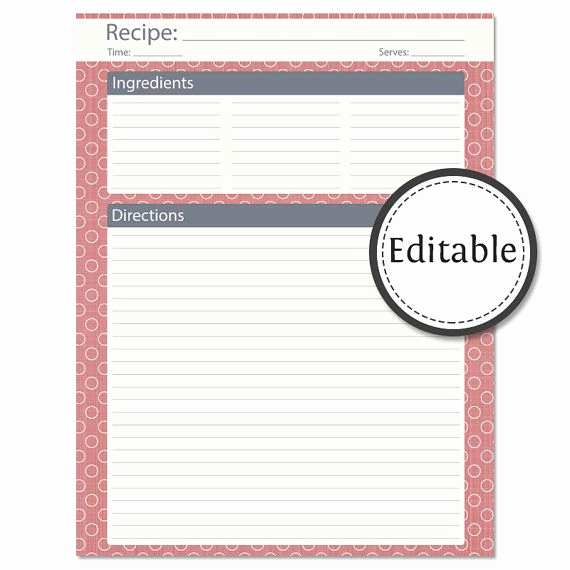Editable Recipe Card Template Lovely Recipe Card Full Page Fillable Instant