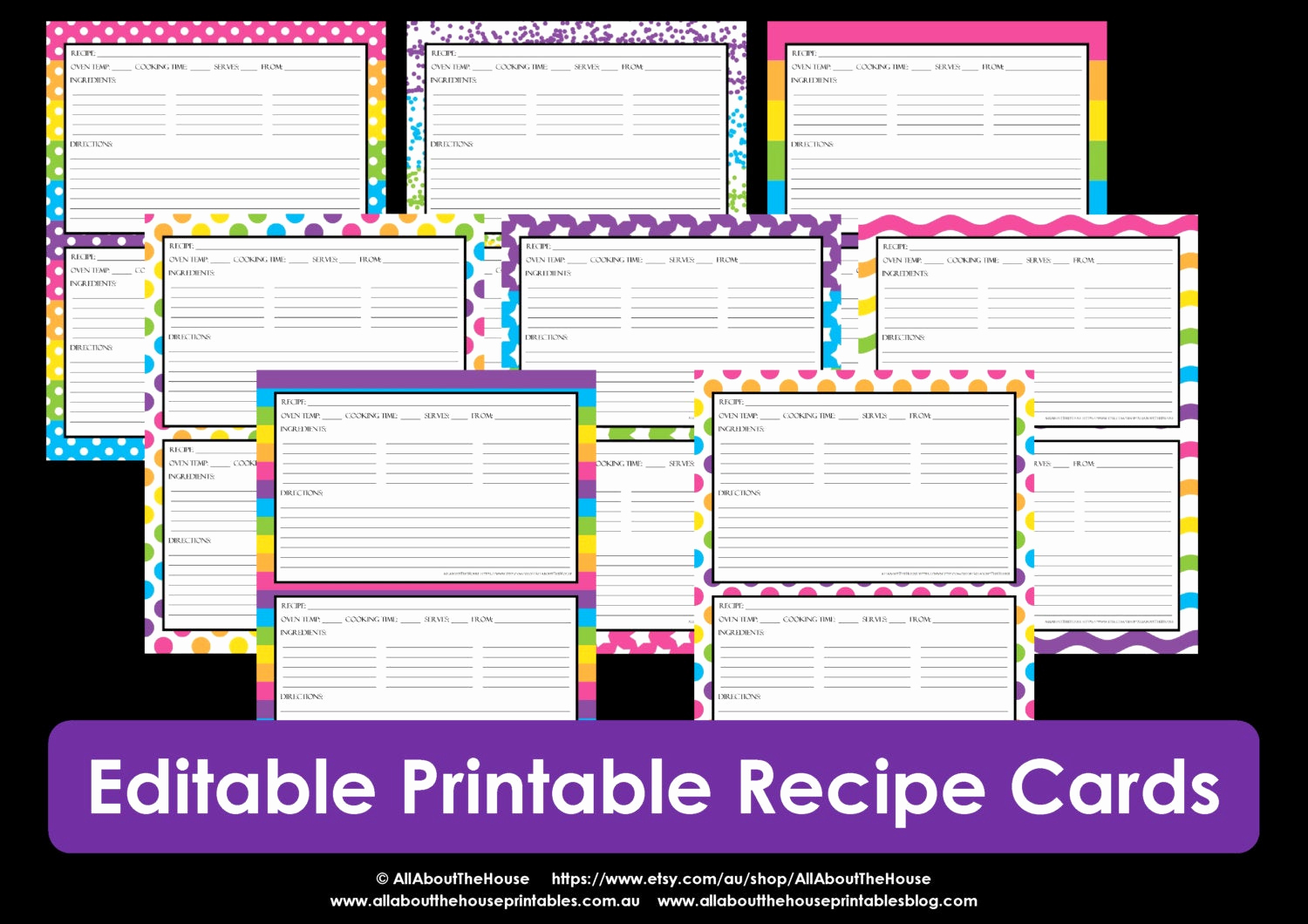 Editable Recipe Card Template Luxury Printable Recipe Card Editable Template Pdf Sheet Recipe