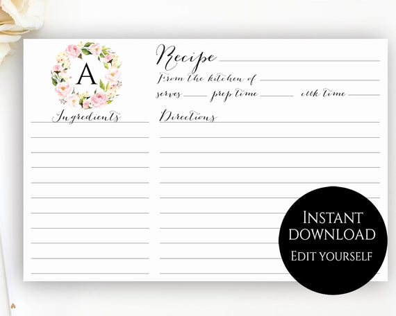 Editable Recipe Card Template Luxury Recipe Card Template Editable Recipe Cards Monogram Recipe