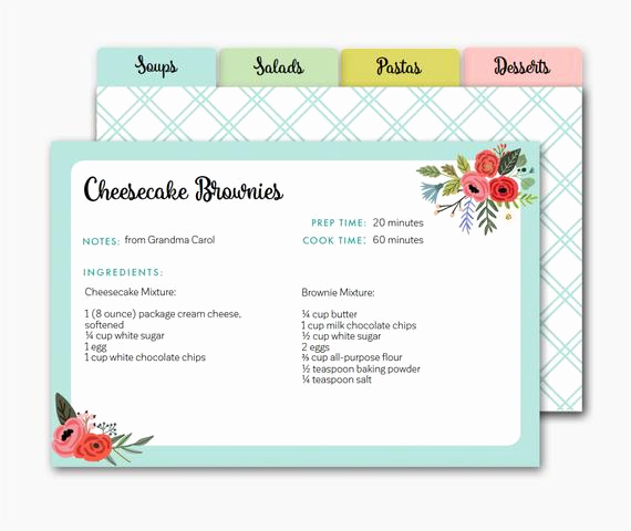 editable recipe card recipe dividers
