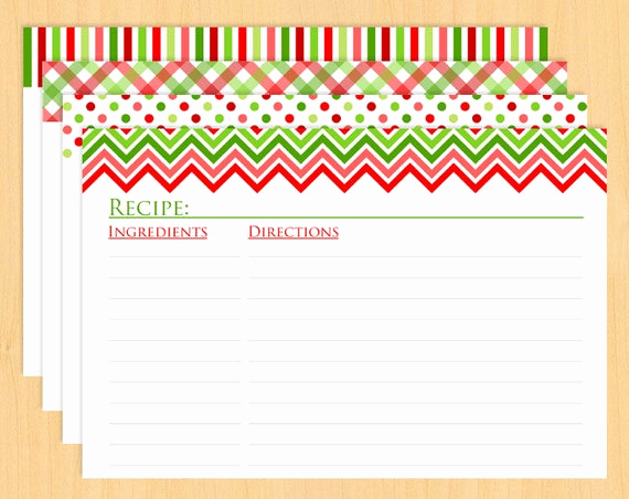 Editable Recipe Card Template Unique Christmas Printable Recipe Cards 6x4 Editable and