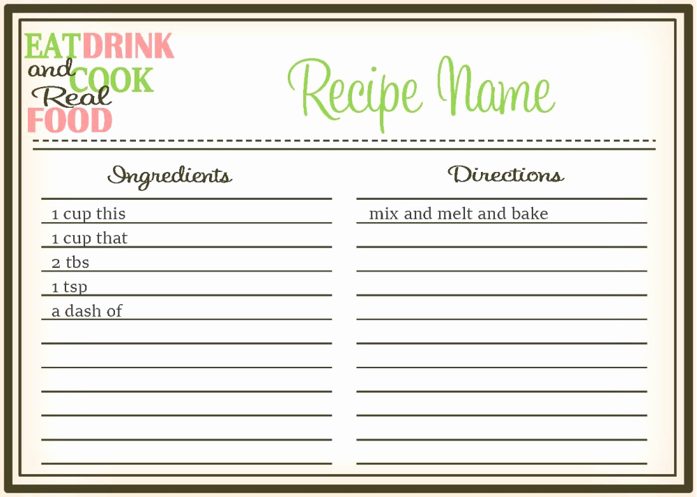Editable Recipe Card Template Unique Real Food Recipe Cards Diy Editable the Healthy Honeys