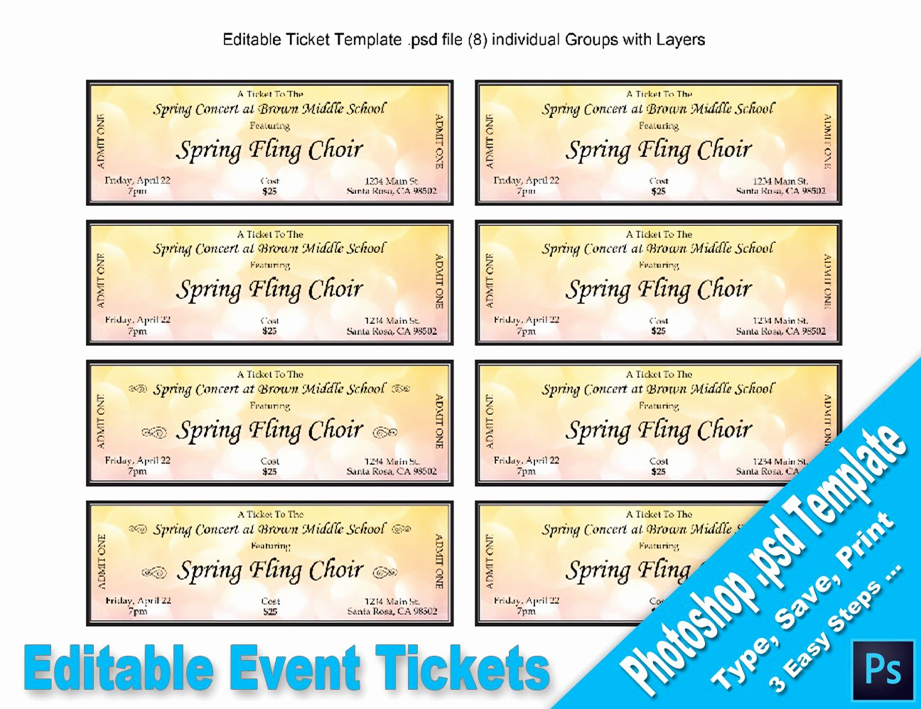 Editable Ticket Template Free Awesome event Tickets Editable Shop Psd Template Printable