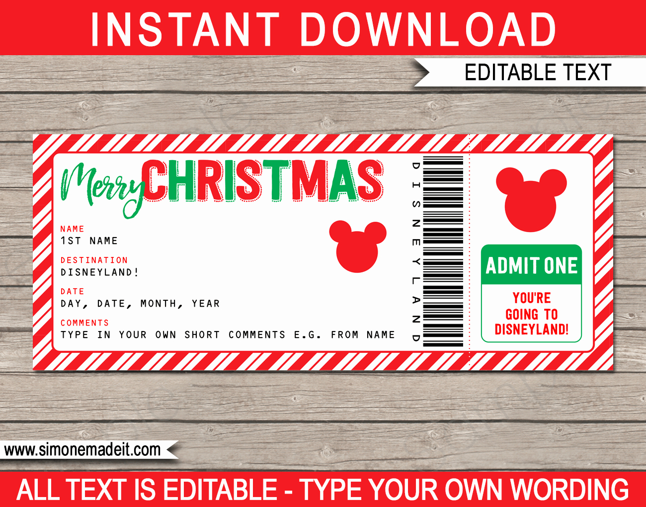 Editable Ticket Template Free Best Of Christmas Surprise Trip to Disneyland Ticket